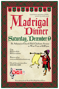 Poster for Madrigal Dinner for North Hills Choirs