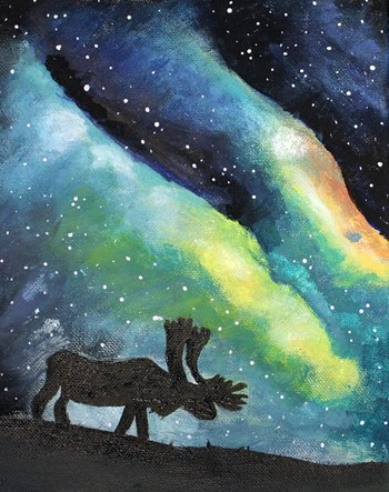 Moose with Northern Lights Art