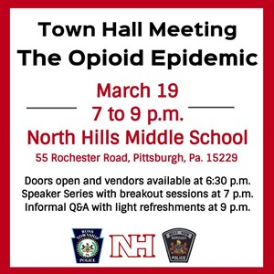 Informational Graphic Promoting The Opioid Epidemic Town Hall Meeting