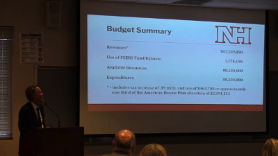 Finance Director Jerry Muth discussing the 2021-22 budget