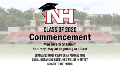 NH Commencement graphic will Martorelli Stadium in the background