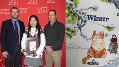 Sophomore Hanlin Zhang is pictured with high school principal Kevin McKiernan and art teacher Matt Simon and is holding a frame with her winning artwork.