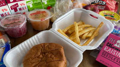 Grab-and-go meal, chicken sandwich and fries