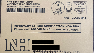 NH Alumni verification postcard