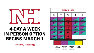 March 2021 calendar with 4-day in-person option