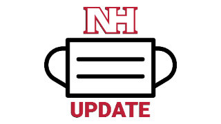 """NH logo with face mask and text """"update"""""""