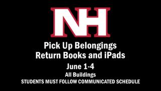 Plan for picking up belongings, returning books/iPads (June 1-4)