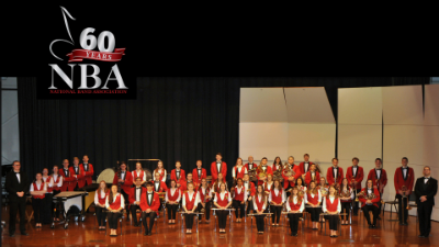 North Hills High School Band with National Band Association logo