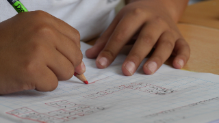 Student working on math problems