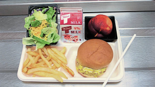 Cafeteria tray of food
