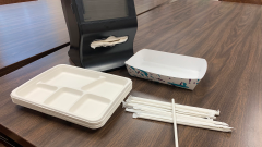 Compostable lunch trays and napkins, and paper straws