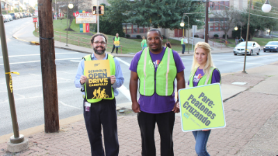 Safe Kids Allegheny County representatives outside West View Elementary for International Walk to School Day