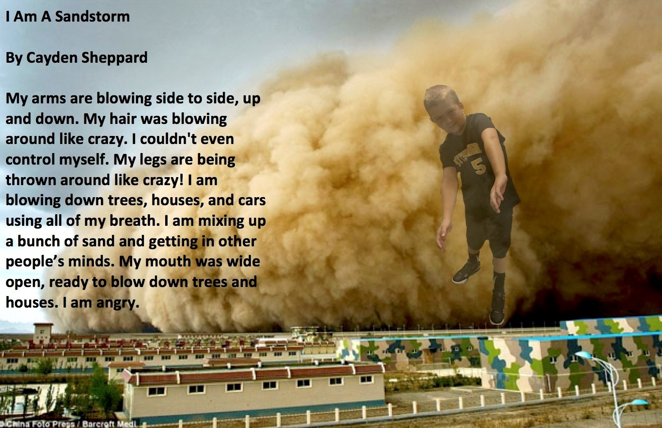 Personification poem about weather with photo of student portraying weather.