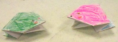 The origami frogs really hopped ... and they come in designer colors!