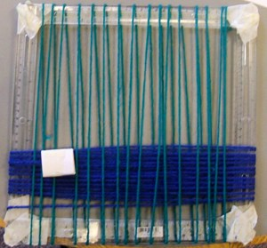 A fabric swatch woven on an ancient Egyptian loom.