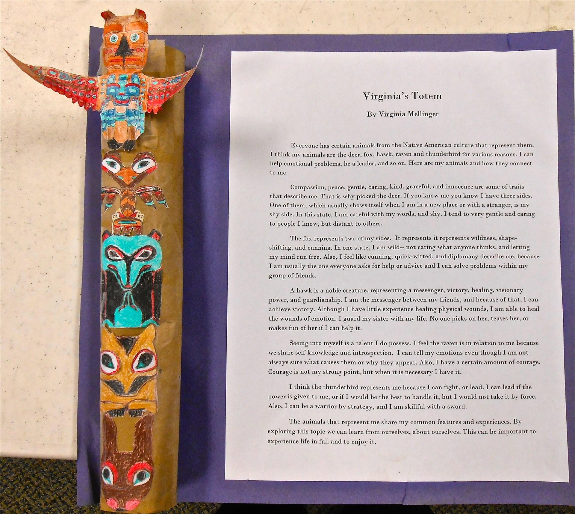 Students create mini-totem poles with explanation of symbols.