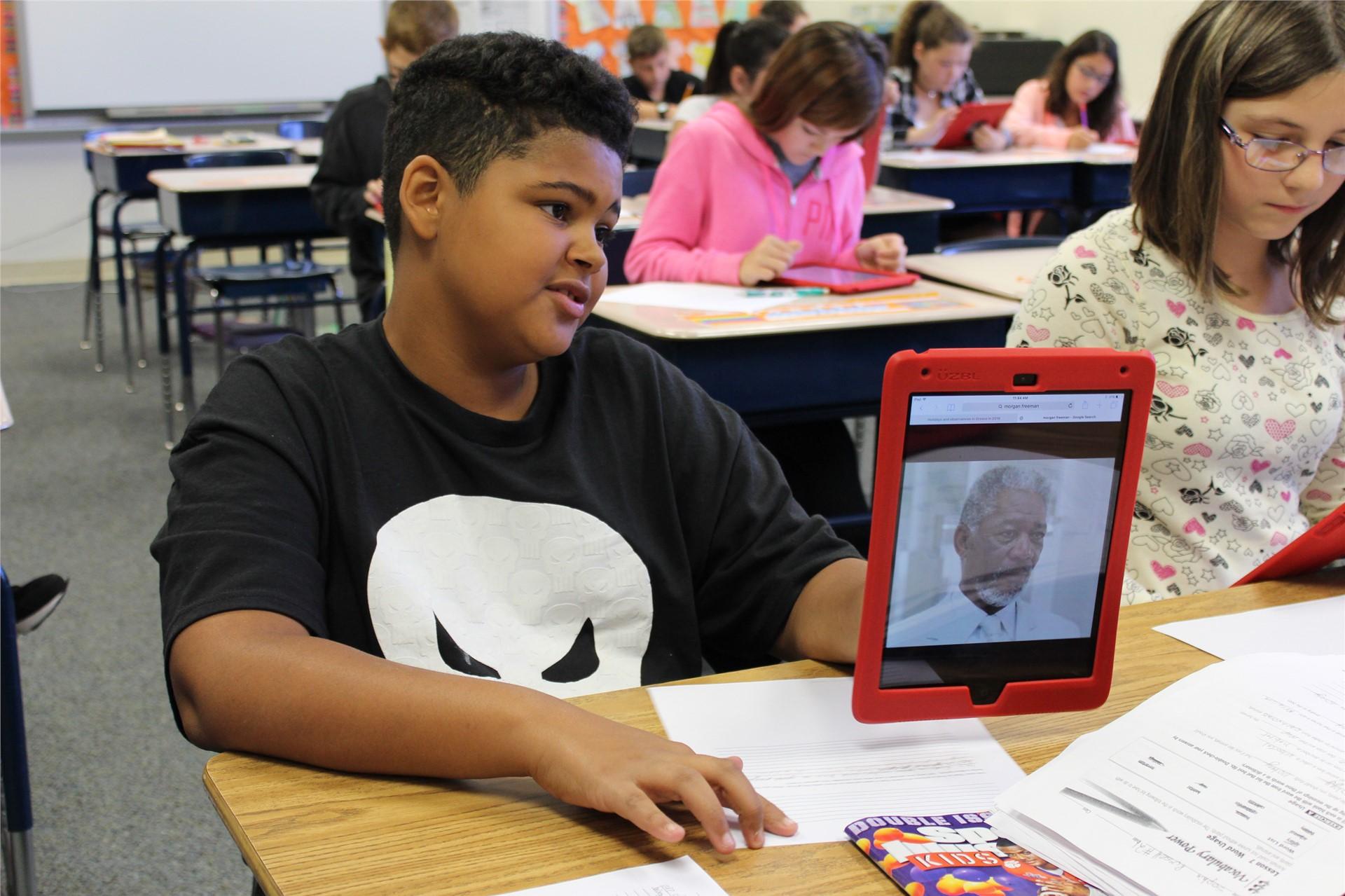 Student Using iPad