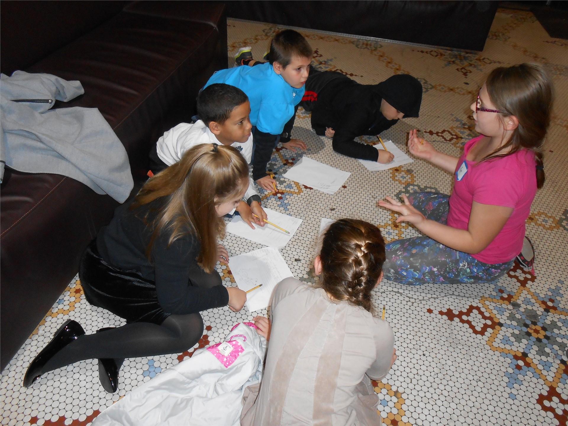 Students at Bricolage radio drama workshop.