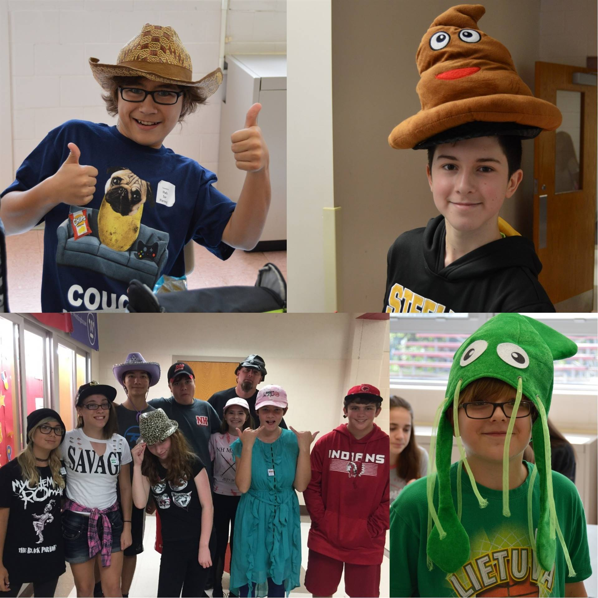 Photo Collage of Middle School Students Wearing Hats for Hurricane Harvey Relief Effort