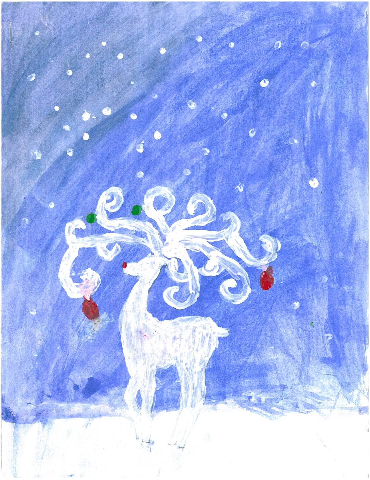 Artwork of White Reindeer for Holiday Card Contest