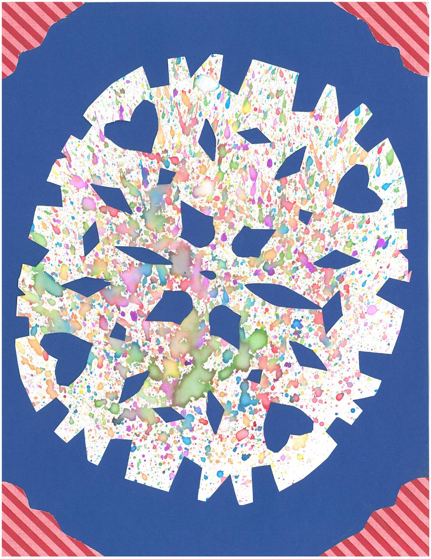 Artwork of watercolor snowflake for holiday card contest