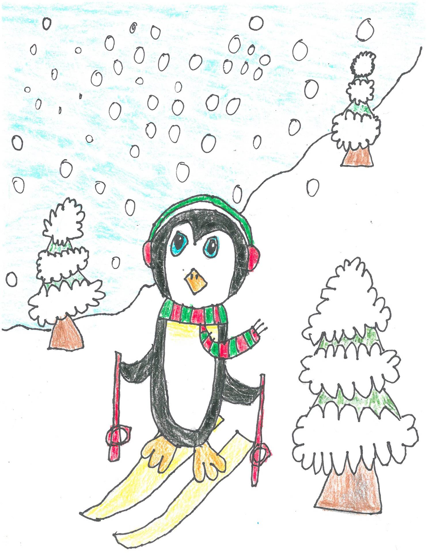 Artwork of skiing penguin for holiday card contest