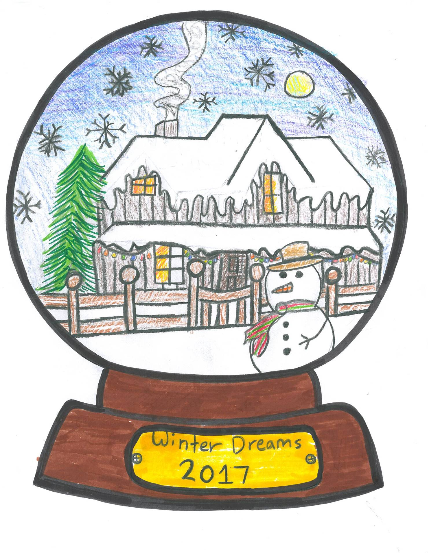 Artwork of snowman in a snowglobe for holiday card contest