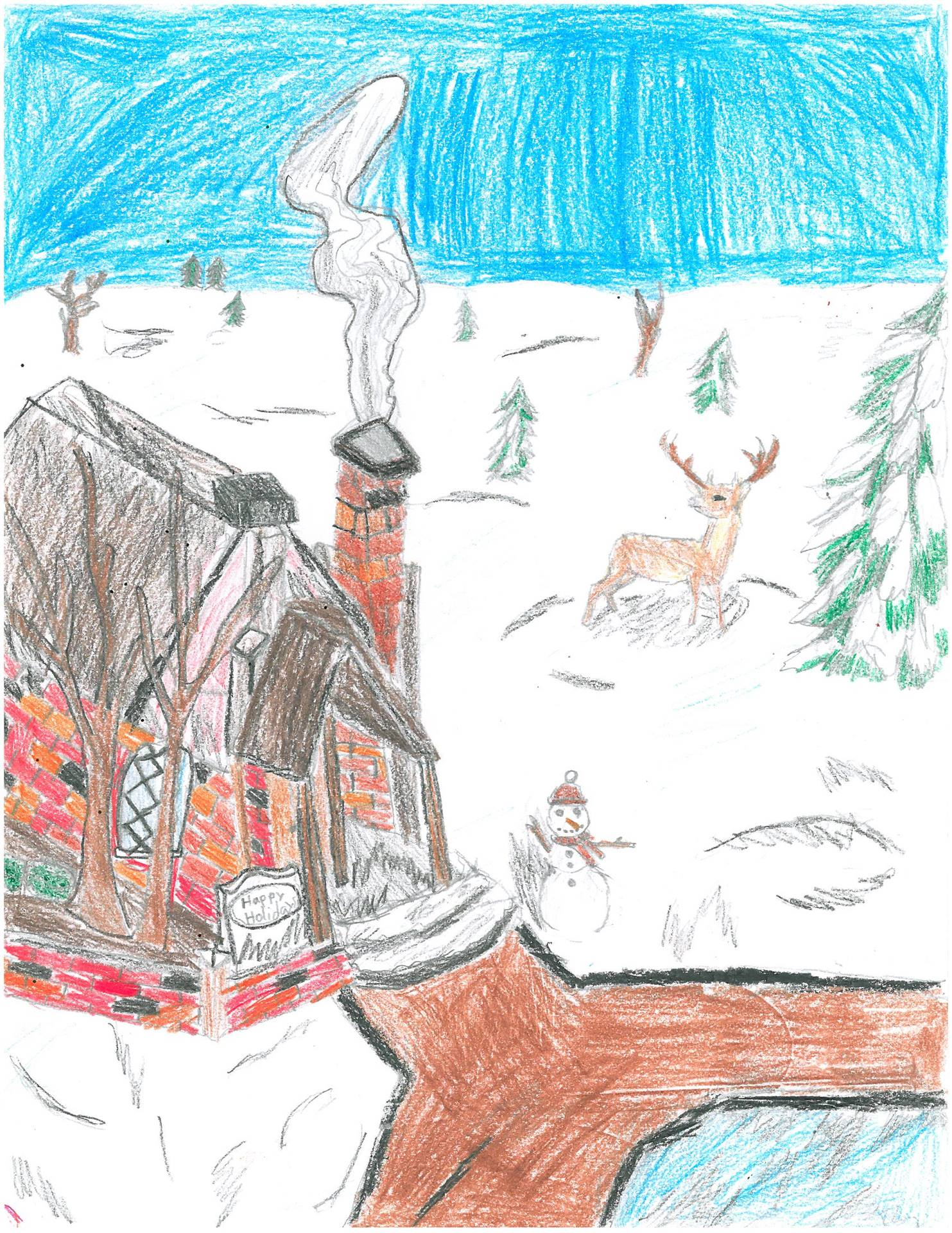 Artwork of winter scene with home and deer for holiday card contest