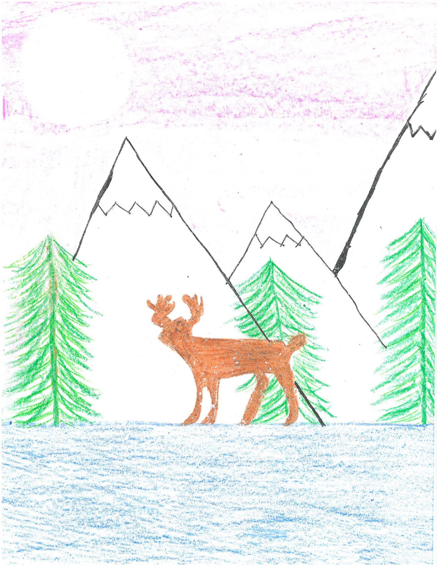 Artwork of winter scene with mountains and deer for holiday card contest