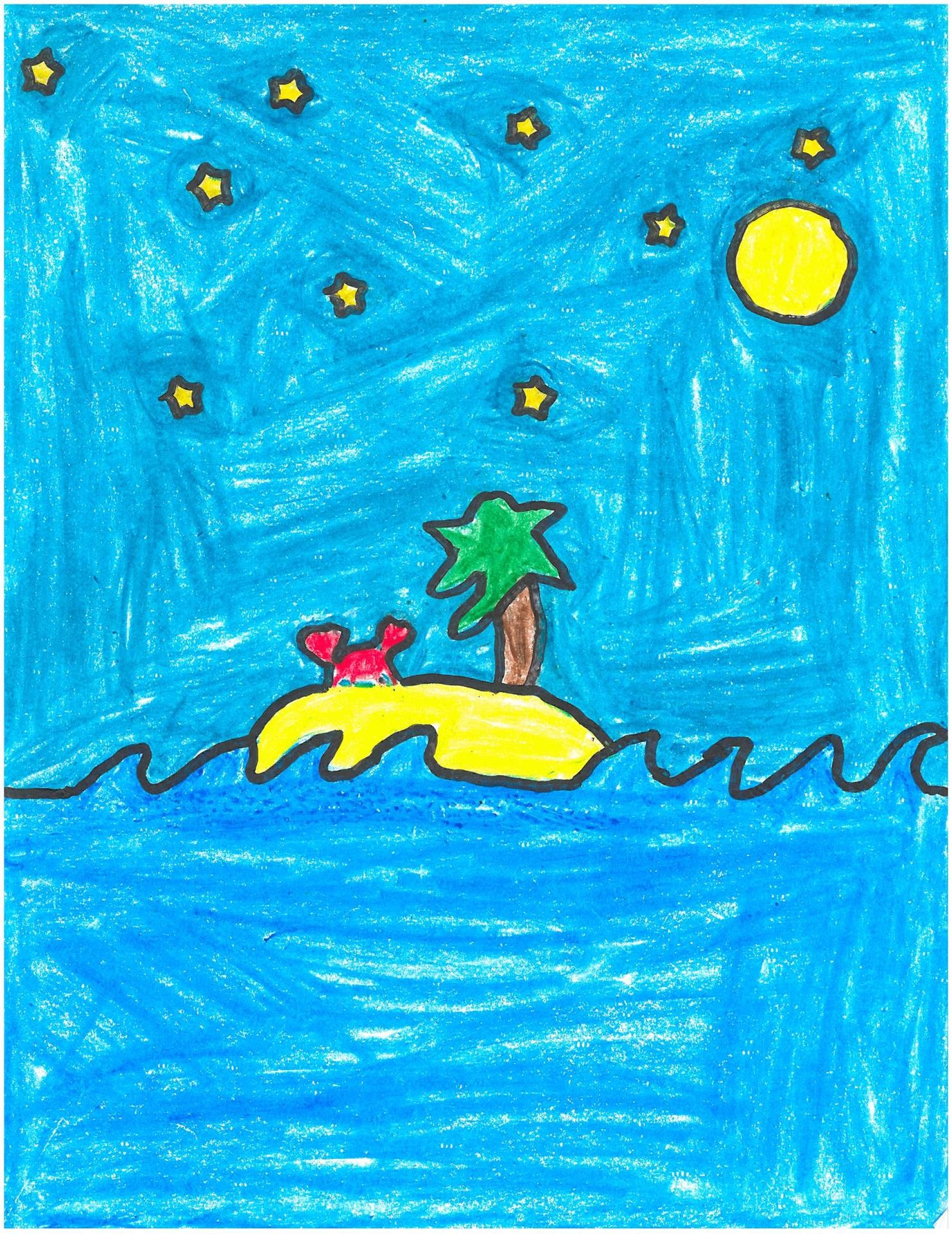 Artwork of holiday crab in the tropics for holiday card contest