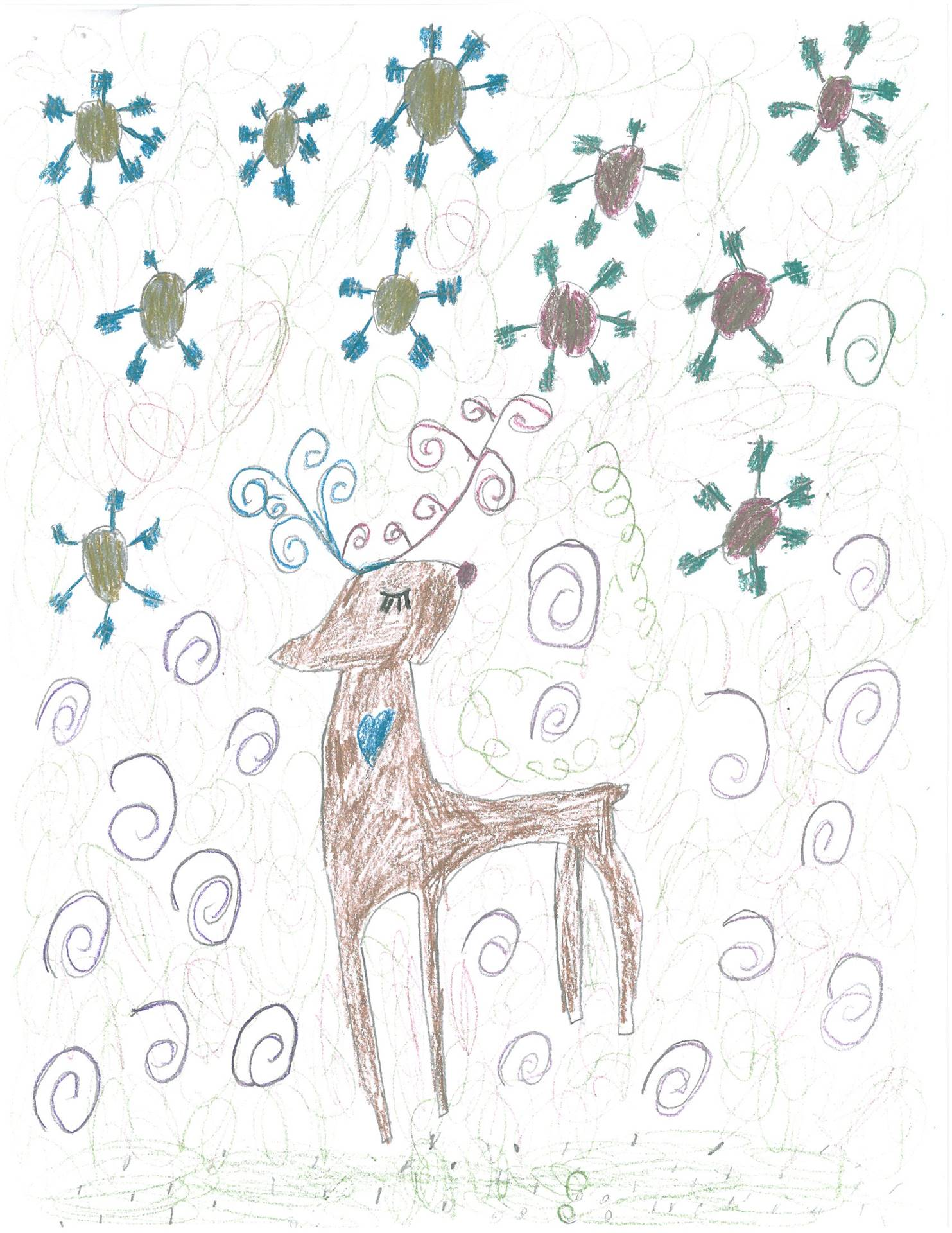 Artwork of deer for holiday card contest