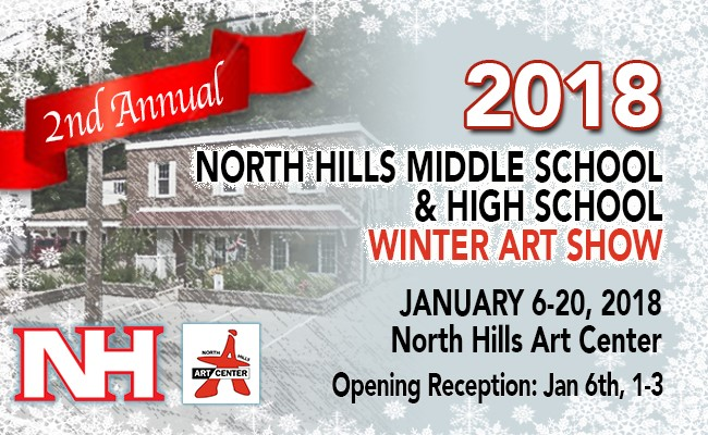 Ad for North Hills Winter Art Show with North Hills Arts Center
