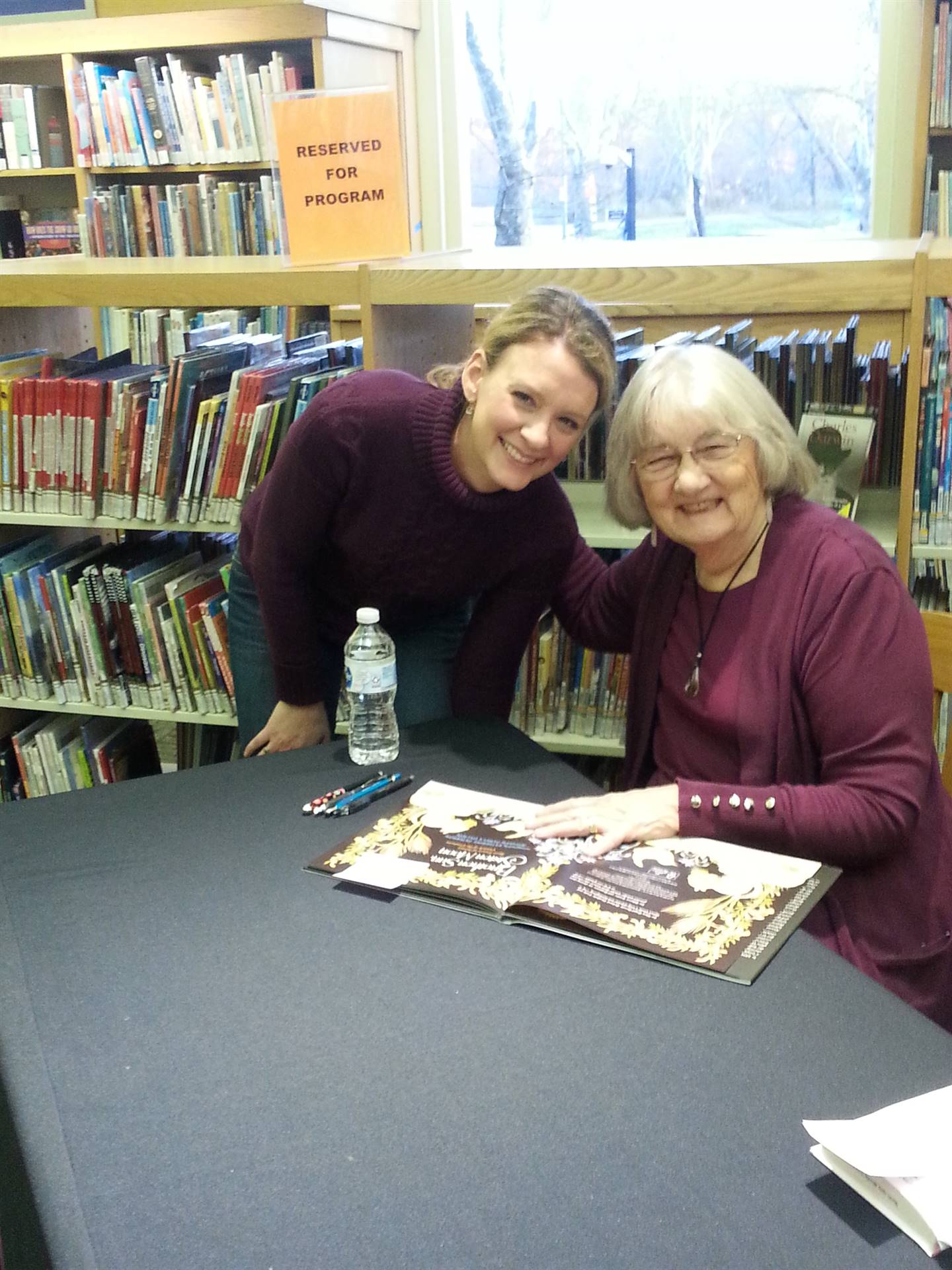 Katherine Paterson poses with a teacher.