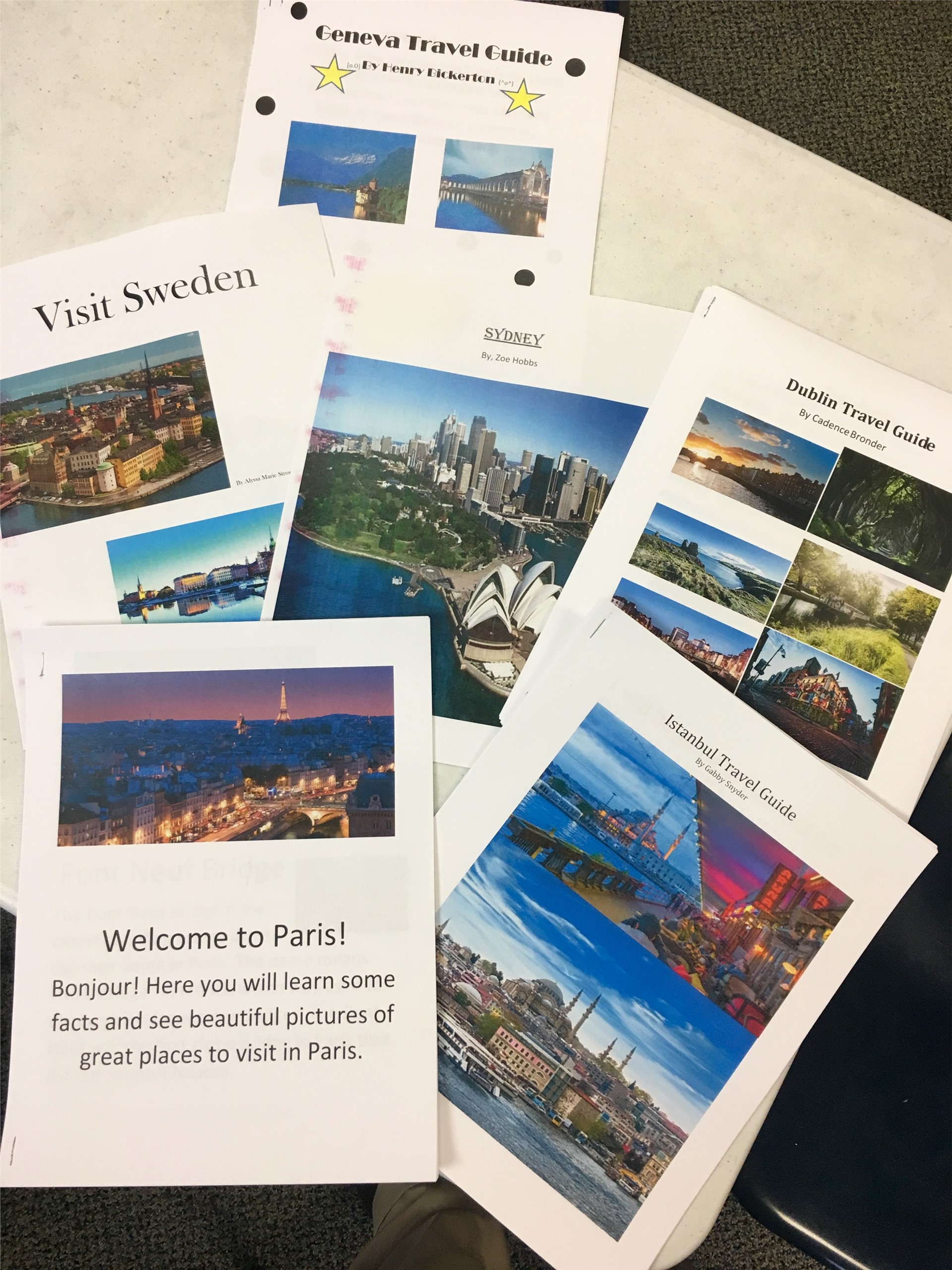 Fifth grade travel brochures