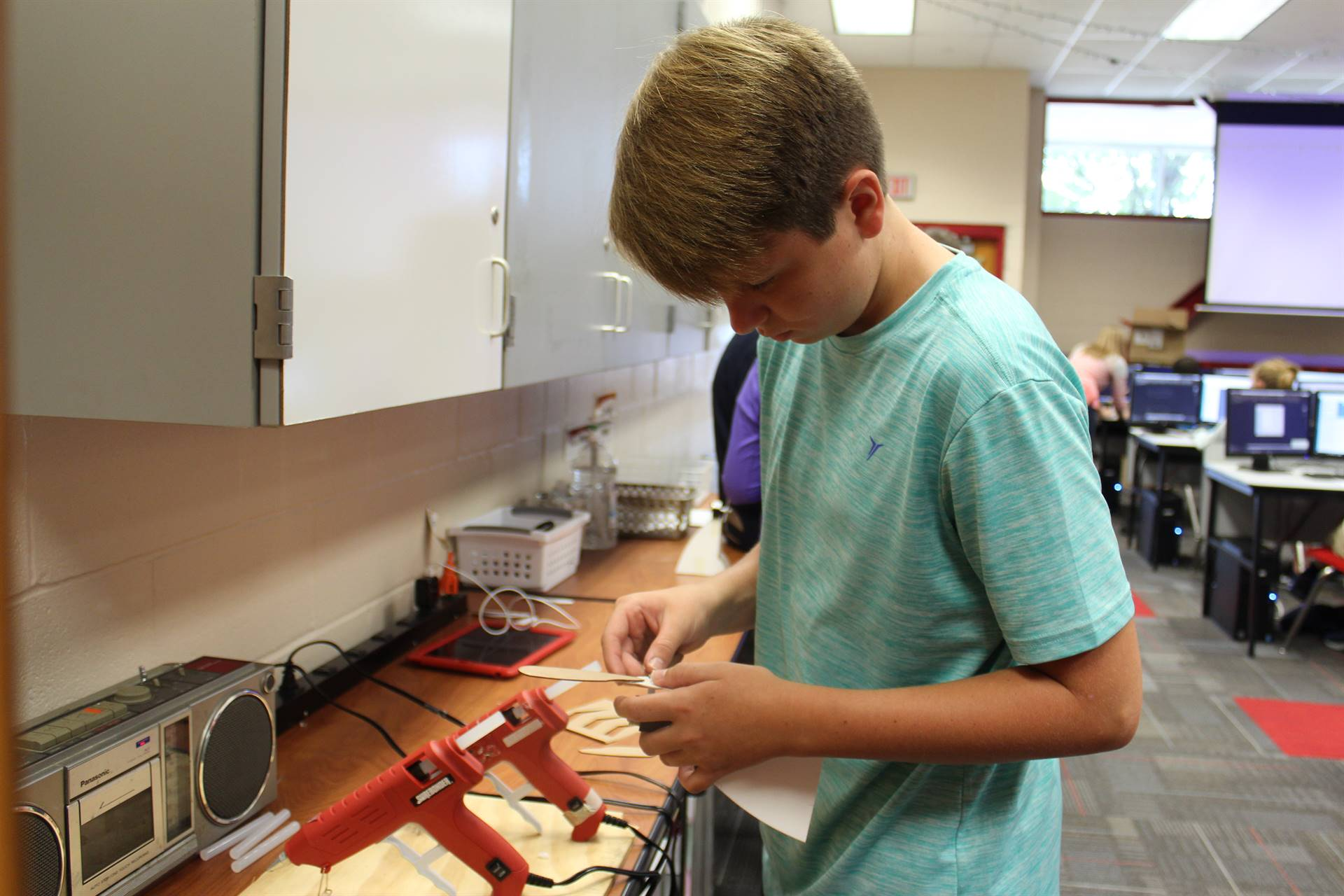 Intro to Sustainable Engineering Photo - Installing New Blades on Turbine