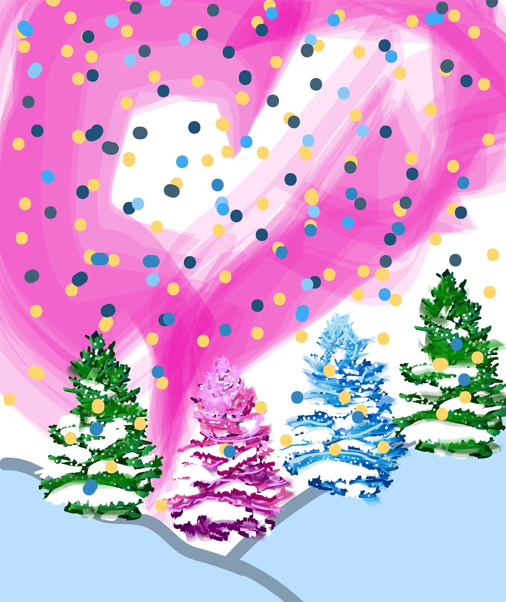 Holiday Card with Pink Northern Lights