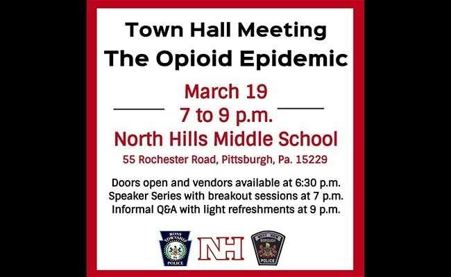Informational Graphic about the The Opioid Epidemic Townhall Meeting