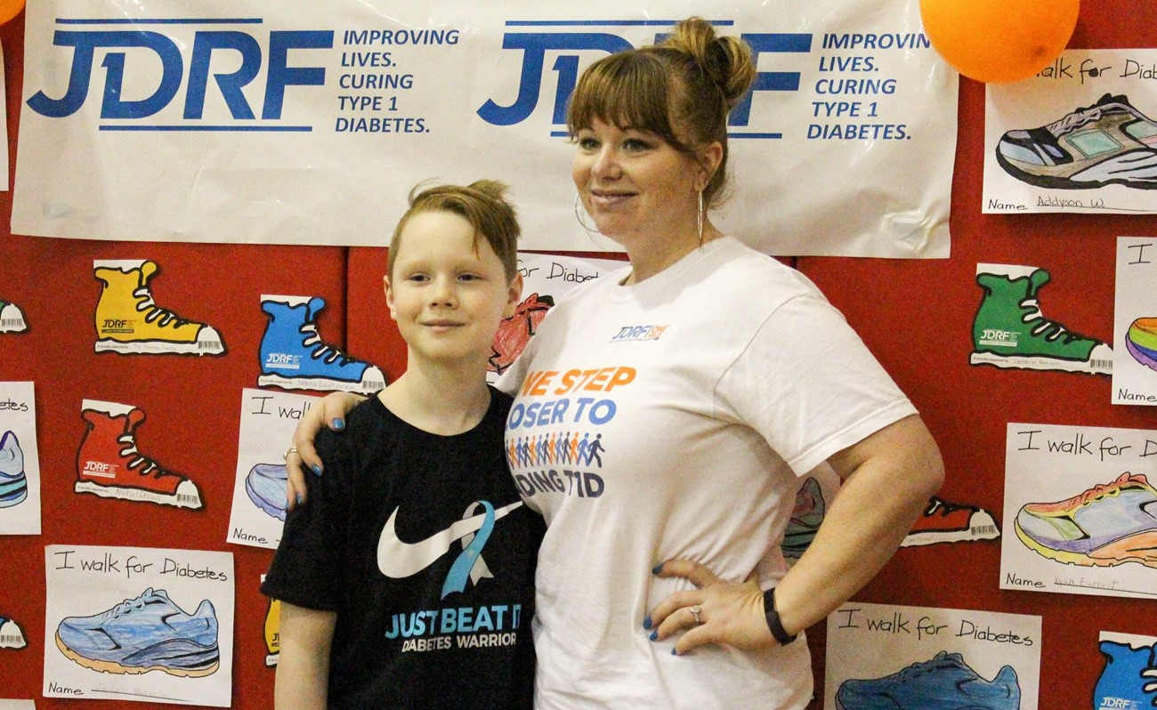 Parent and Student Posing During JDRF Walk