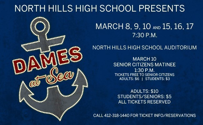 Dames at Sea Logo and Performance Times