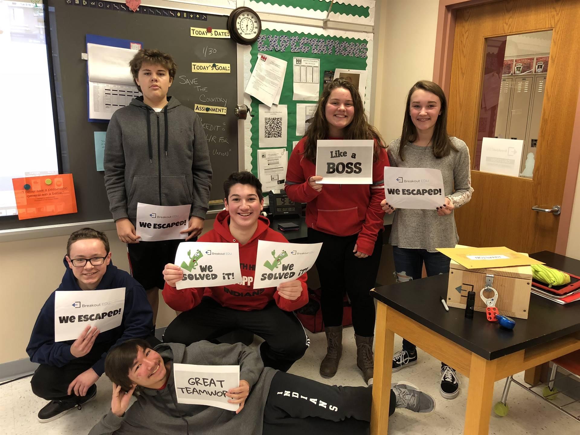 Students Winning BreakoutEDU