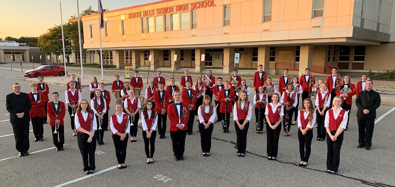 North Hills High School Wind Ensemble in front of North Hills High School