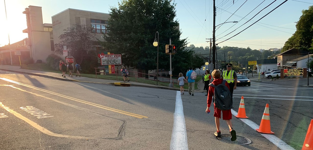 Students walking into West View Elementary School on International Walk to School Day on Wednesday, October 2.