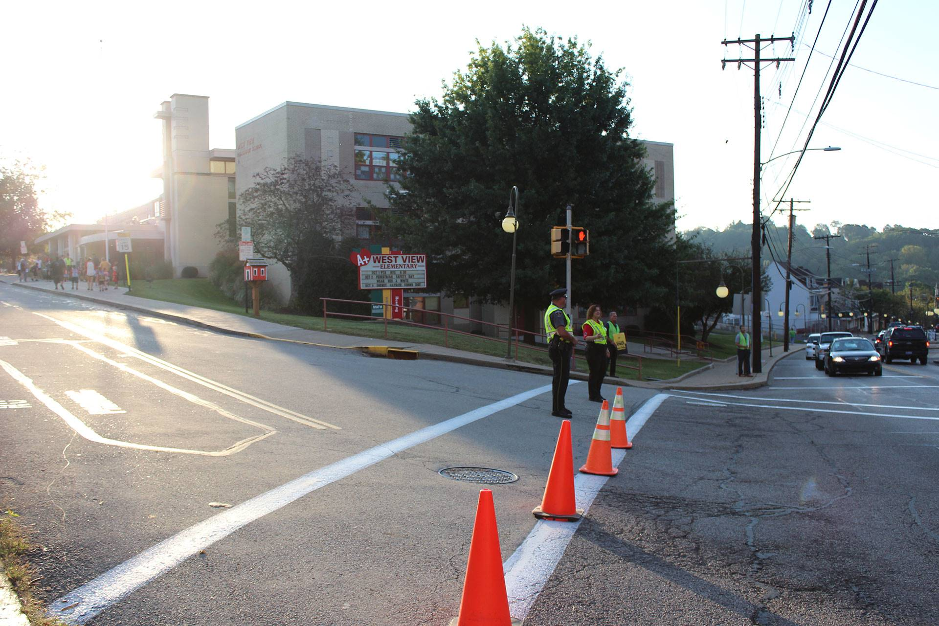 Crossing guards outside of West View Elementary School