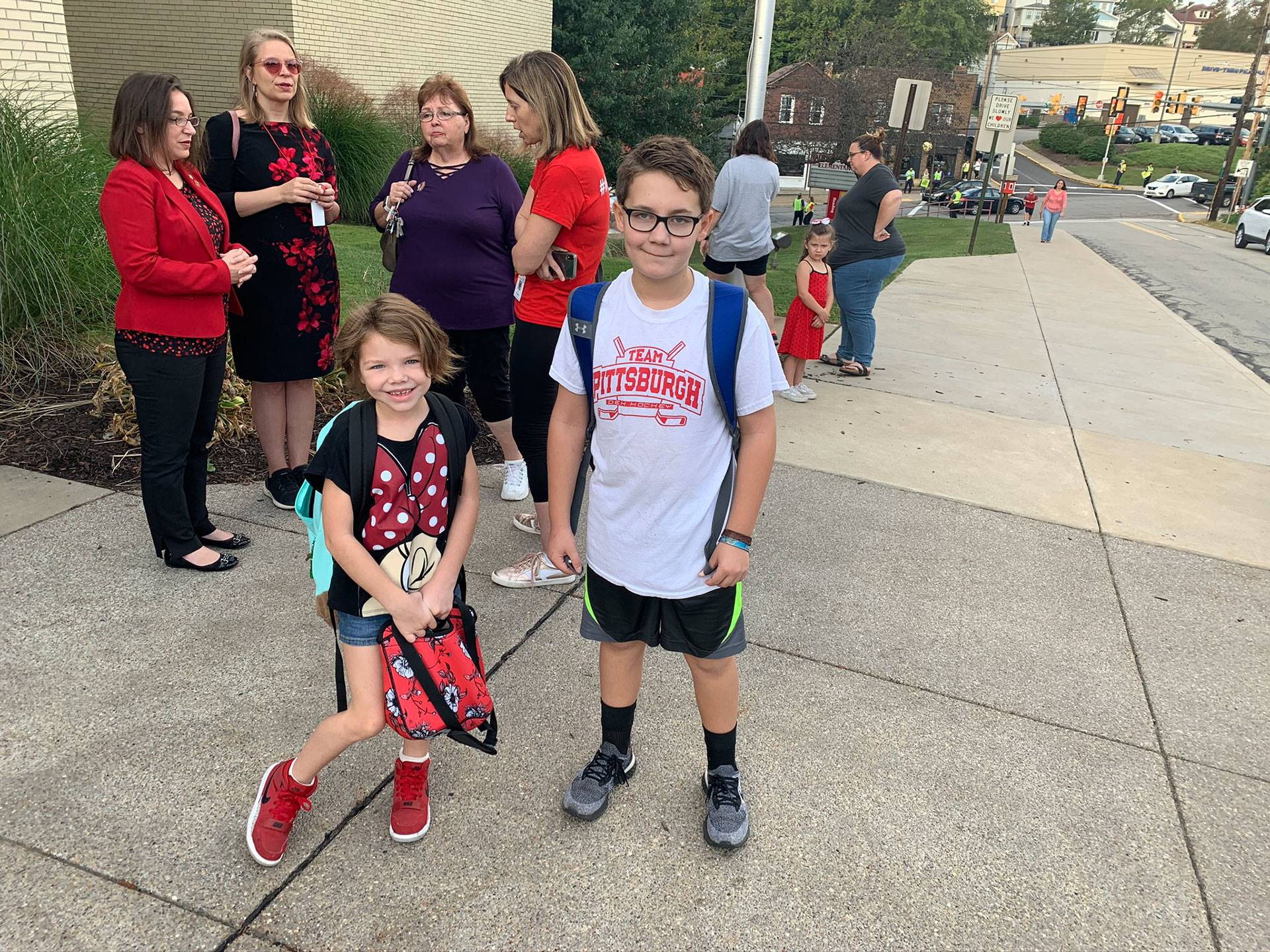 West View students walking to school on International Walk to School Day on Oct. 2, 2019