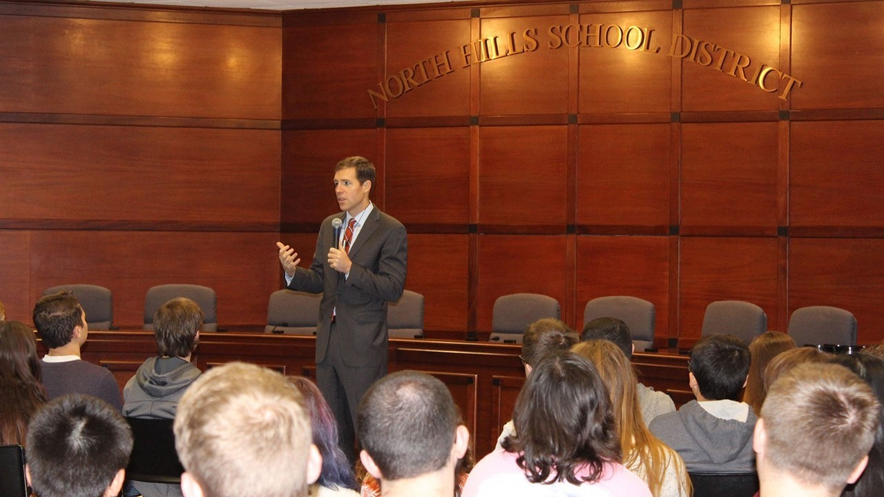 Conor Lamb at his latest Digital Student Town Hall held in the LGI room at the North Hills Middle School
