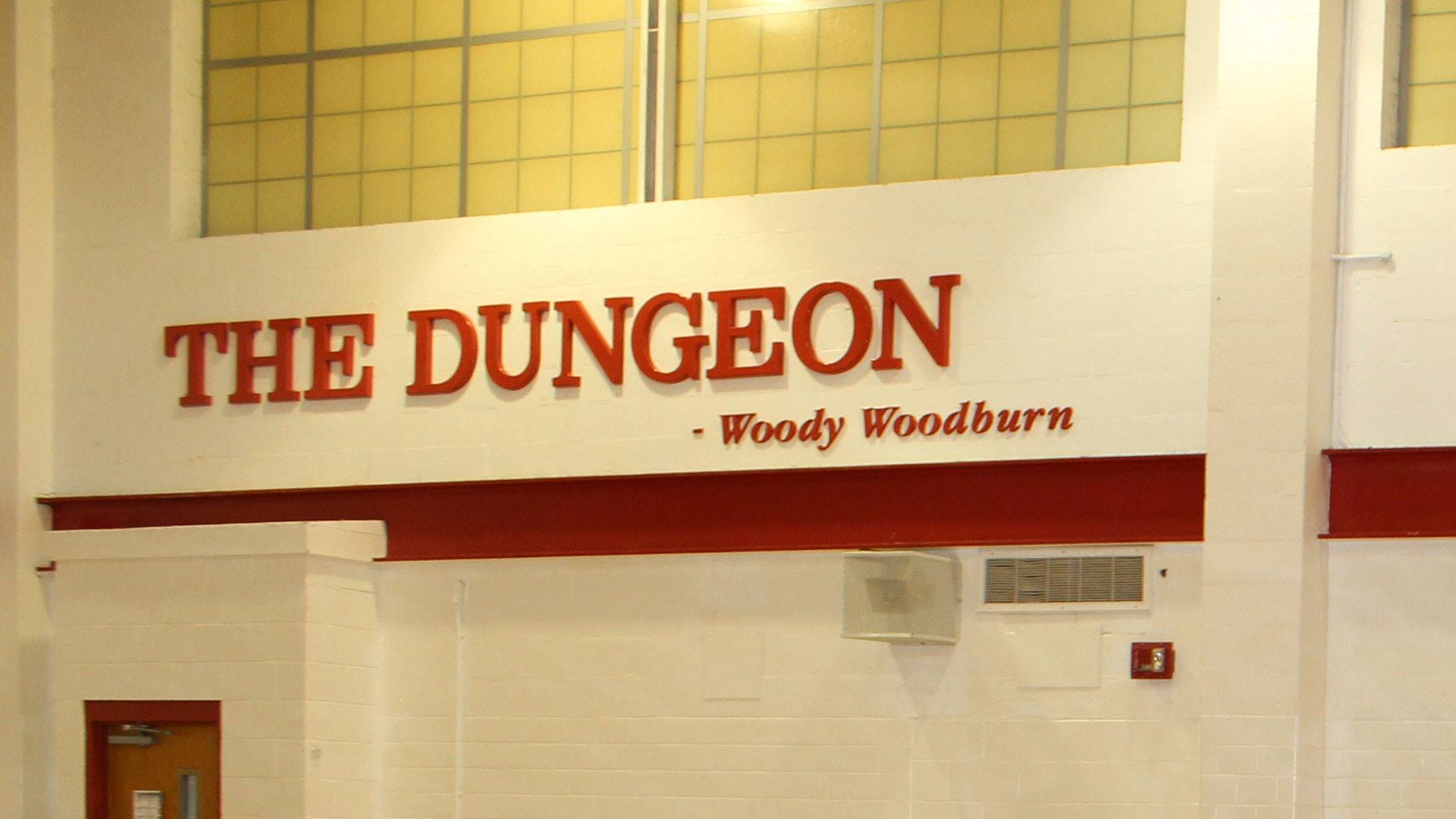 """Sign that reads """"The Dungeon"""" in the North Hills Middle School gymnasium"""