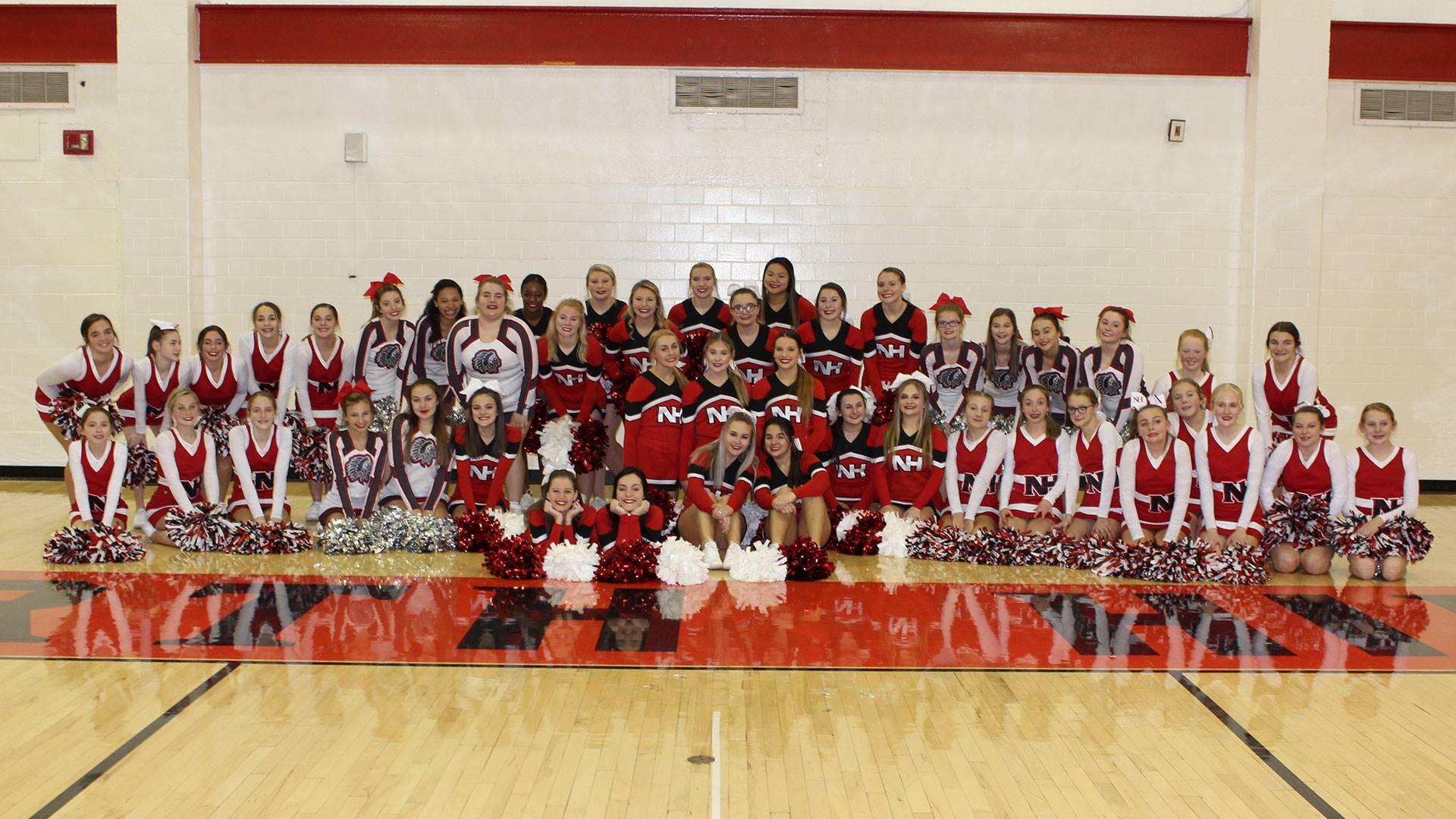 "North Hills cheerleaders at Morrow ""Woody"" Woodburn gym dedication"
