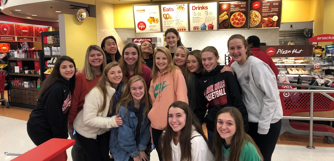 NH girls basketball team after holiday shopping at Ross Township Target store