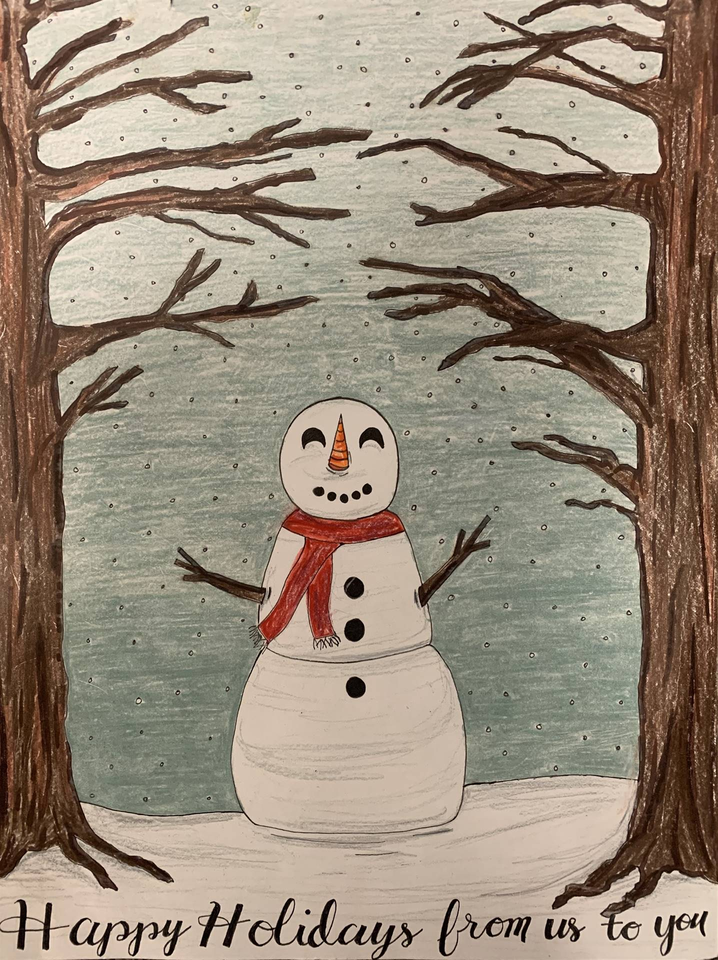 Snowman Holiday Card Art Contest entry