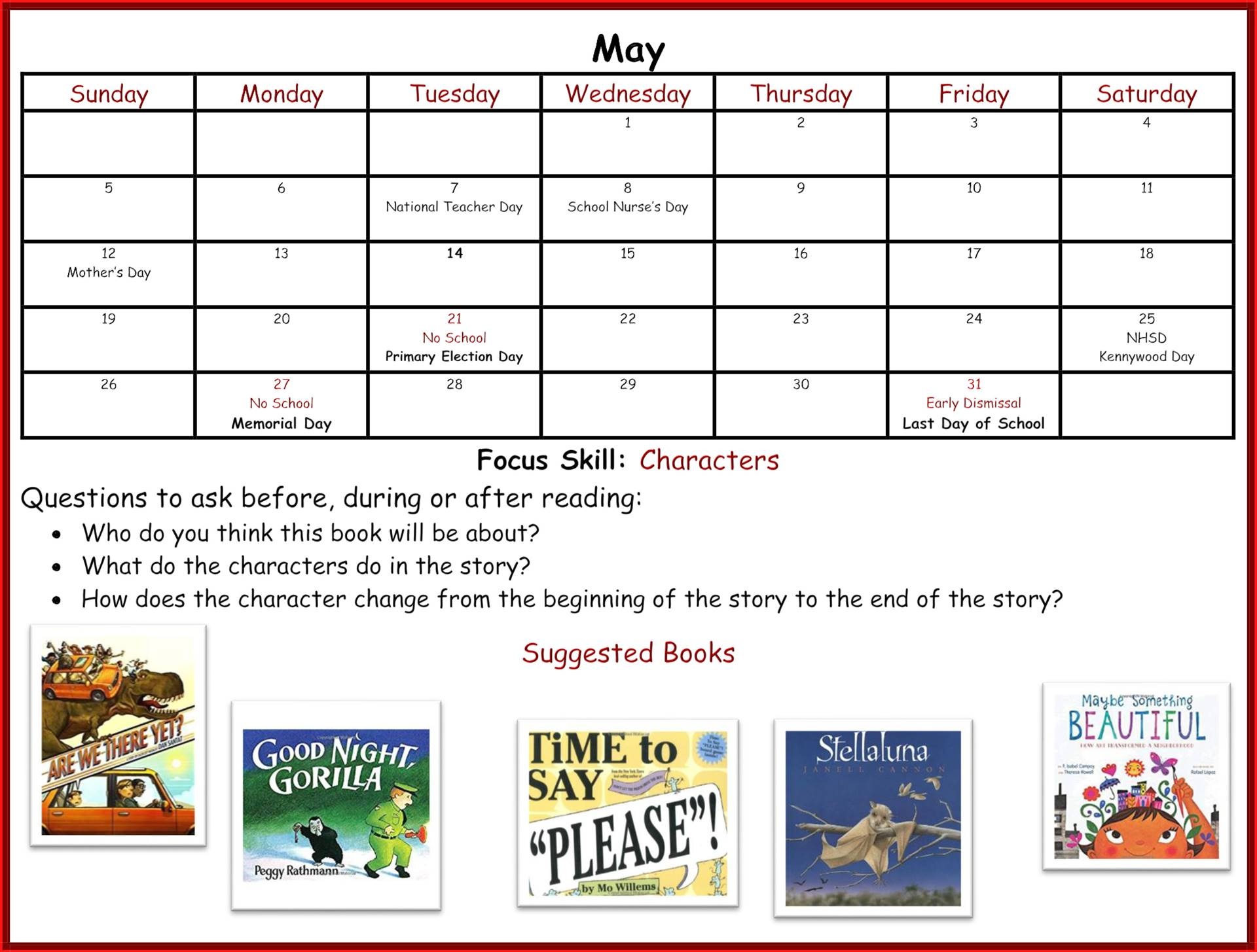 Kindergarten Readiness Calendar - May page 1